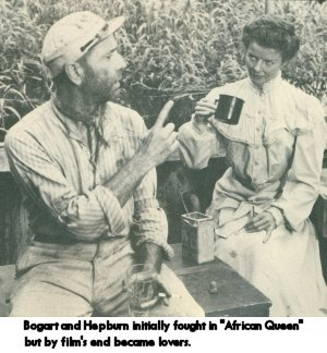 Bogart and Hepburn in The African Queen
